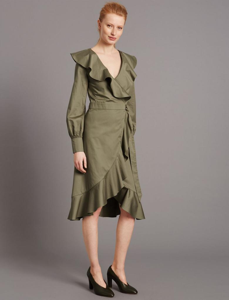Yeşil Fırfır Detaylı Elbise