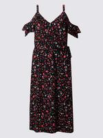 Düşük Omuzlu Çiçek Desenli Elbise