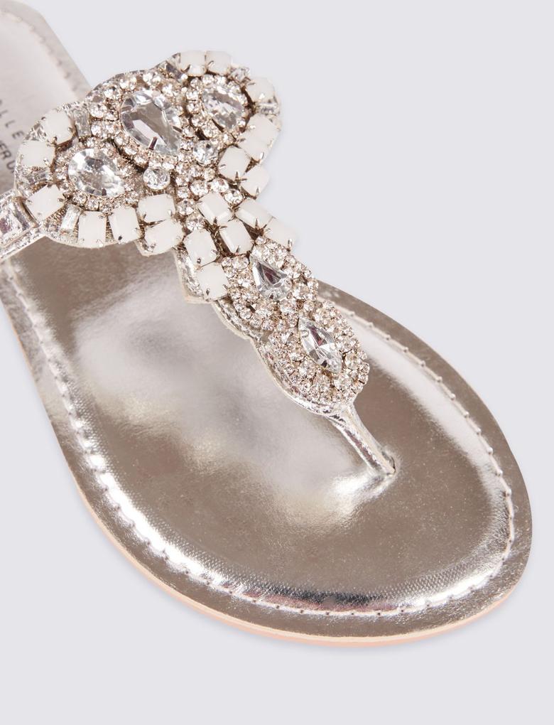 Metalik Taşlı Parmak Arası Terlik Ayakkabı