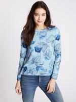 Mavi Çiçek Desenli Uzun Kollu T-Shirt