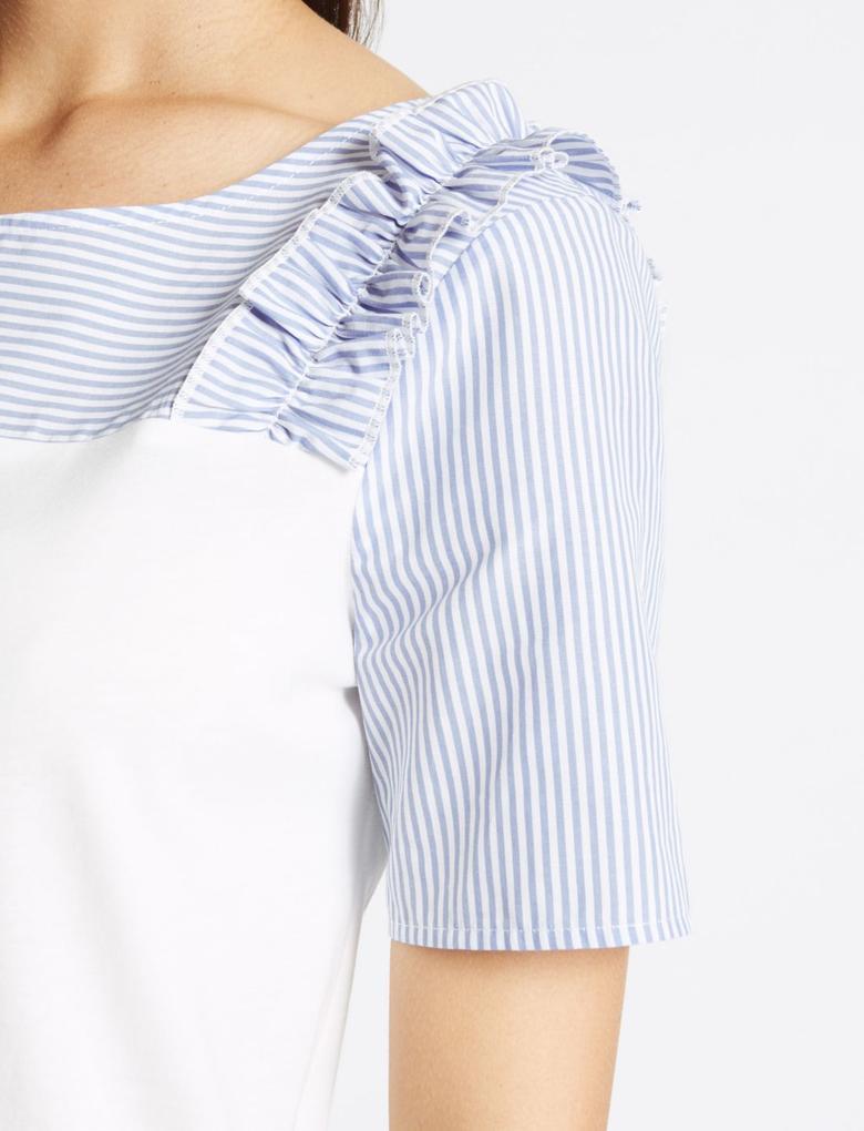 Çizgili Fırfır Detaylı Bluz