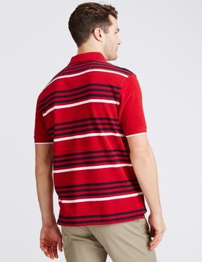 Kısa Kollu Çizigli Polo Yaka T-Shirt