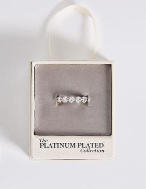 Metalik Platinyum Rengi Taşlı Yüzük