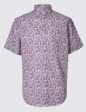 Kısa Kollu Çiçek Desenli Gömlek