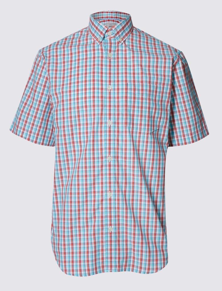 Kısa Kollu Ekose Gömlek