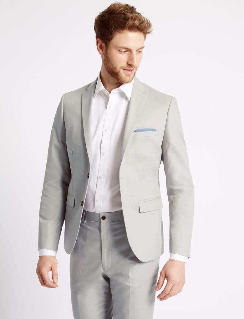 Gri Tailored Fit Çift Düğmeli Ceket