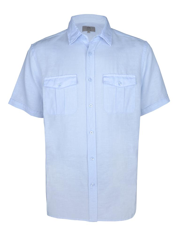 Kısa Kollu Keten Gömlek
