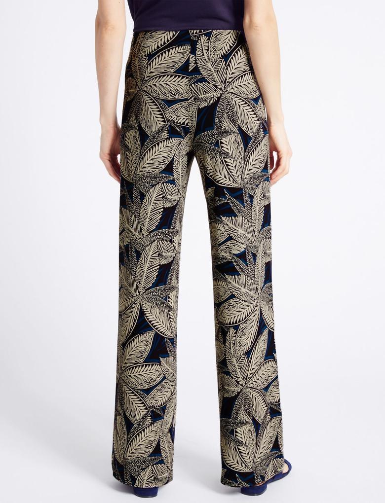 Desenli Wide Leg Jarse Pantolon
