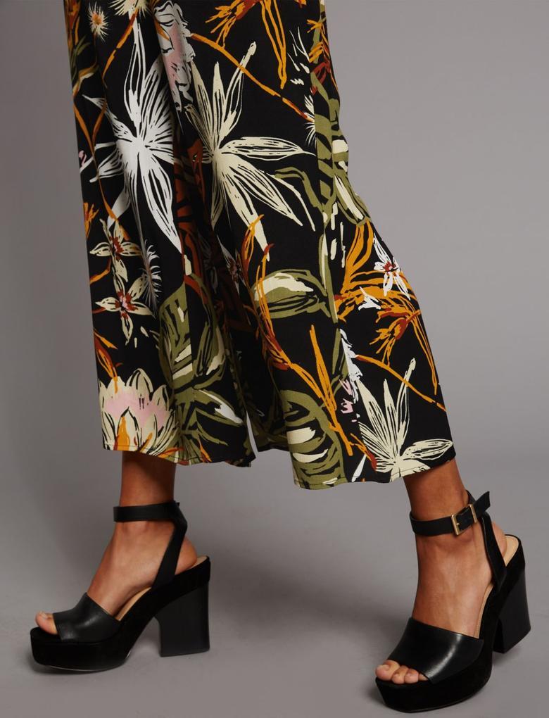 Siyah Desenli Wide Leg Pantolon