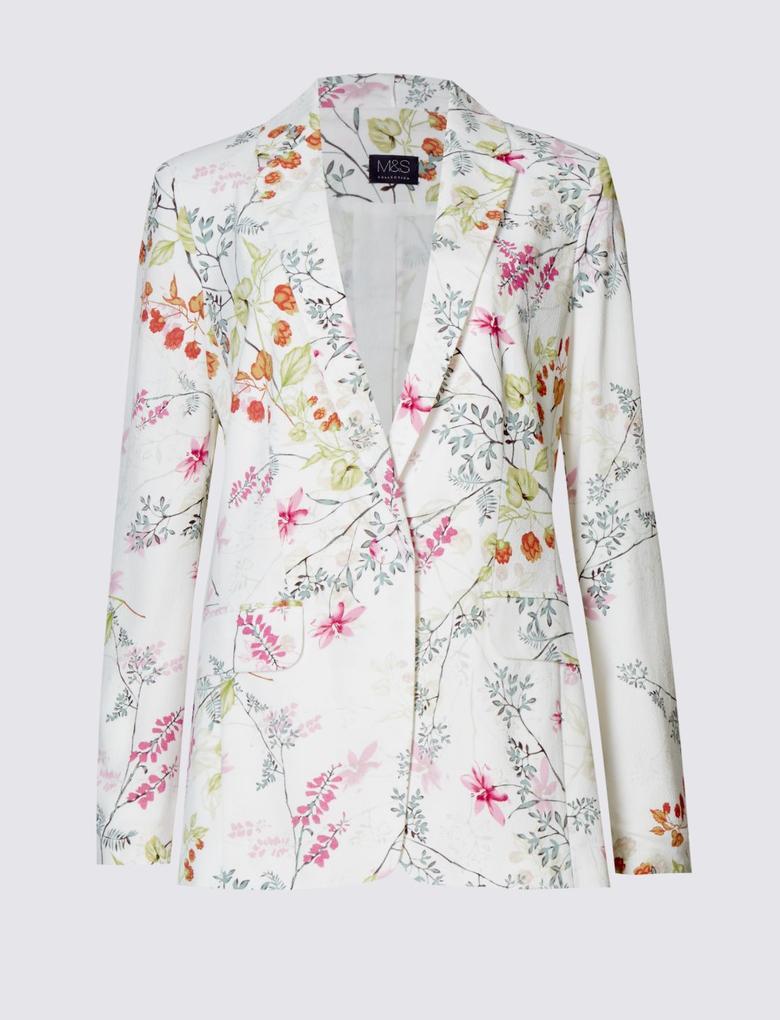 Bej Çiçek Desenli Ceket