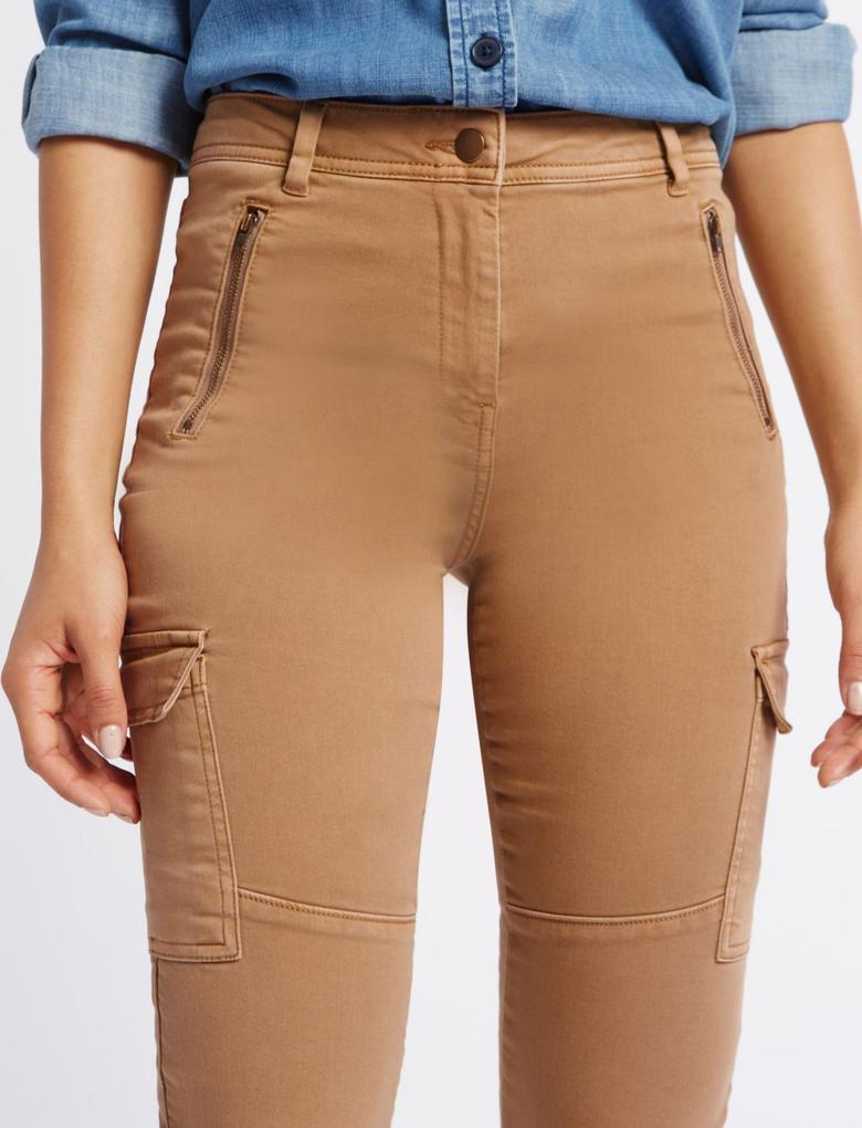 Çok Cepli Skinny Kargo Pantolon