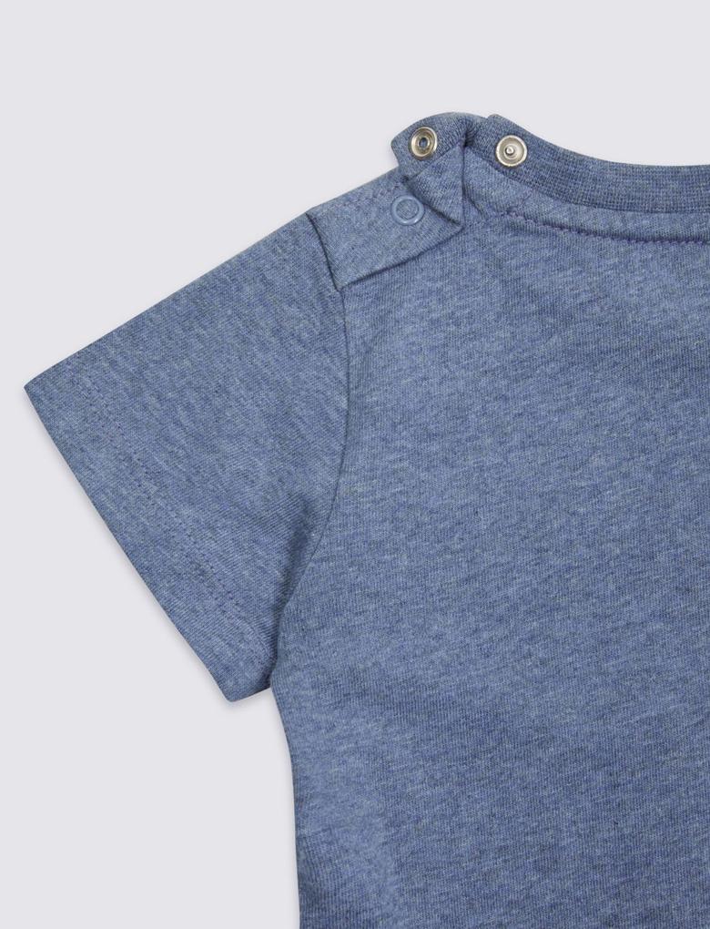 Mavi Uzun Kollu Desenli T-Shirt