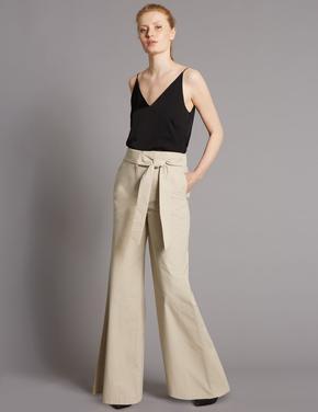 Kahverengi Wide Leg Pantolon