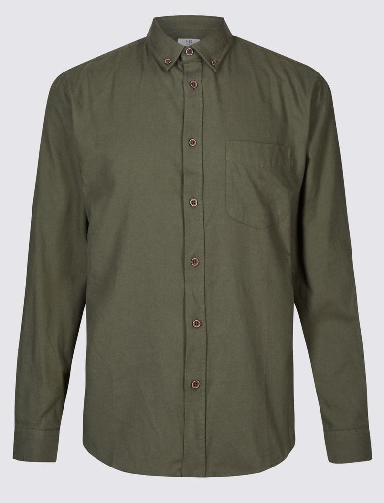 Yeşil Uzun Kollu Cepli Gömlek
