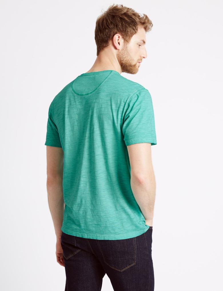 Yeşil Desenli Kısa Kollu T-Shirt