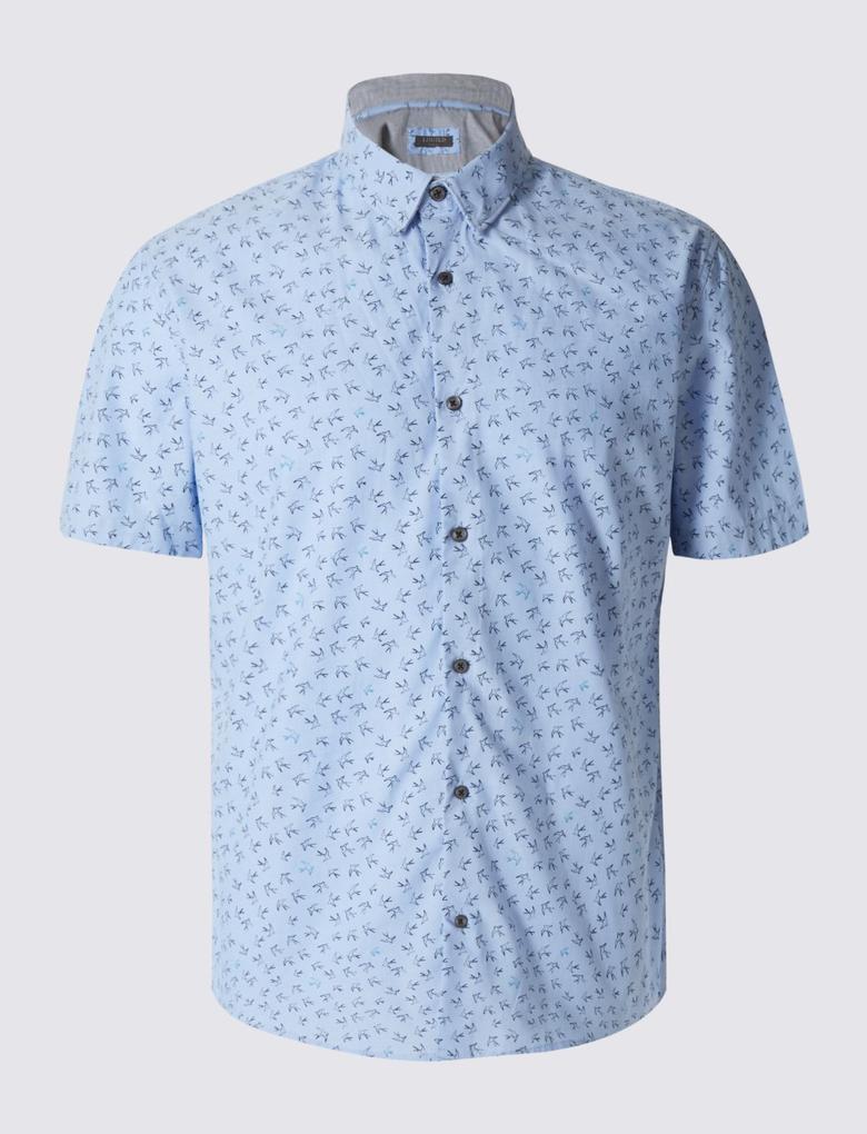 Kısa Kollu Desenli Gömlek