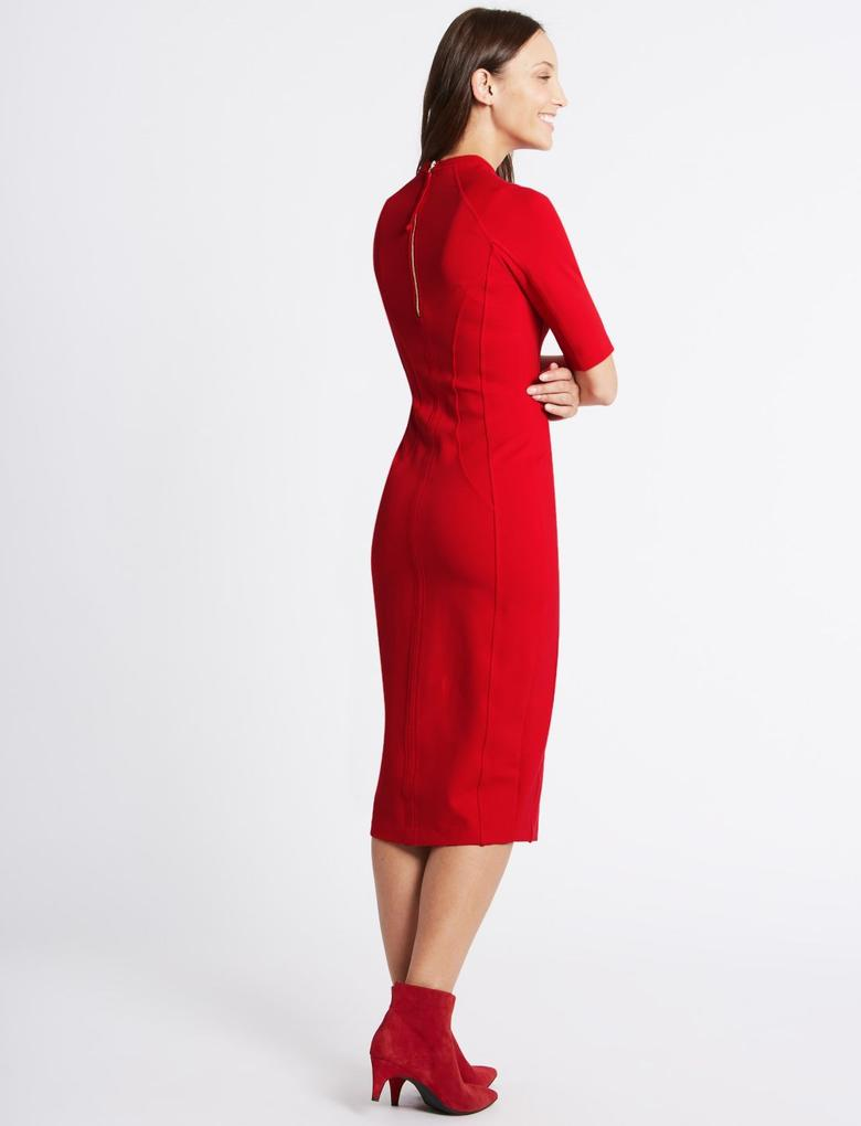 Kırmızı Yarım Kollu Bodycon Elbise
