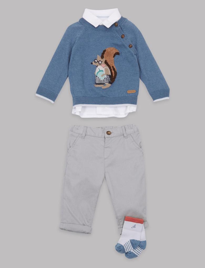 Gömlek, Kazak, Pantolon ve Çorap Takımı