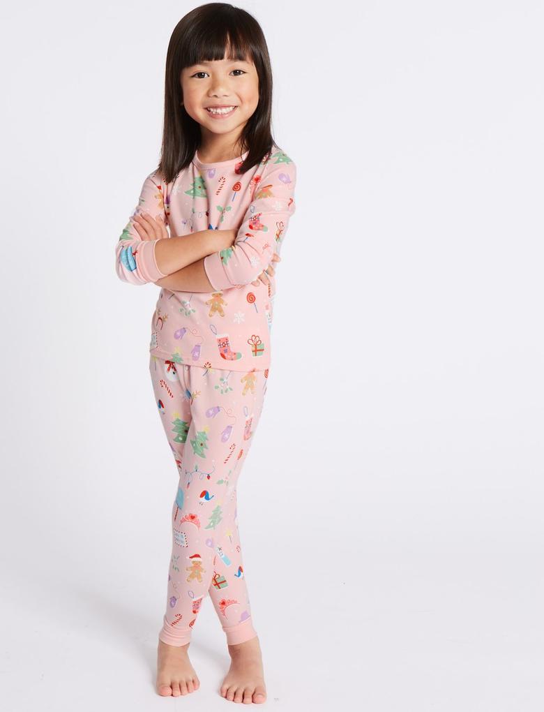 Pembe 3'lü Desenli Pijama Takımı