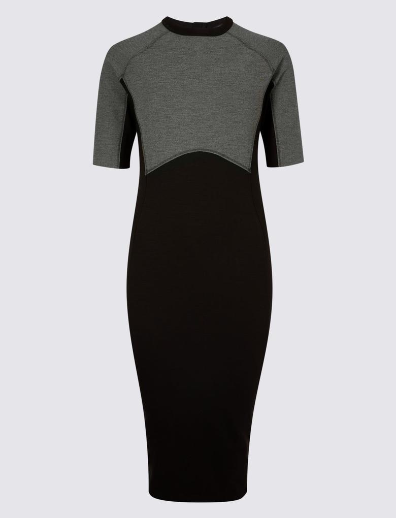Siyah Yarım Kollu Bodycon Elbise