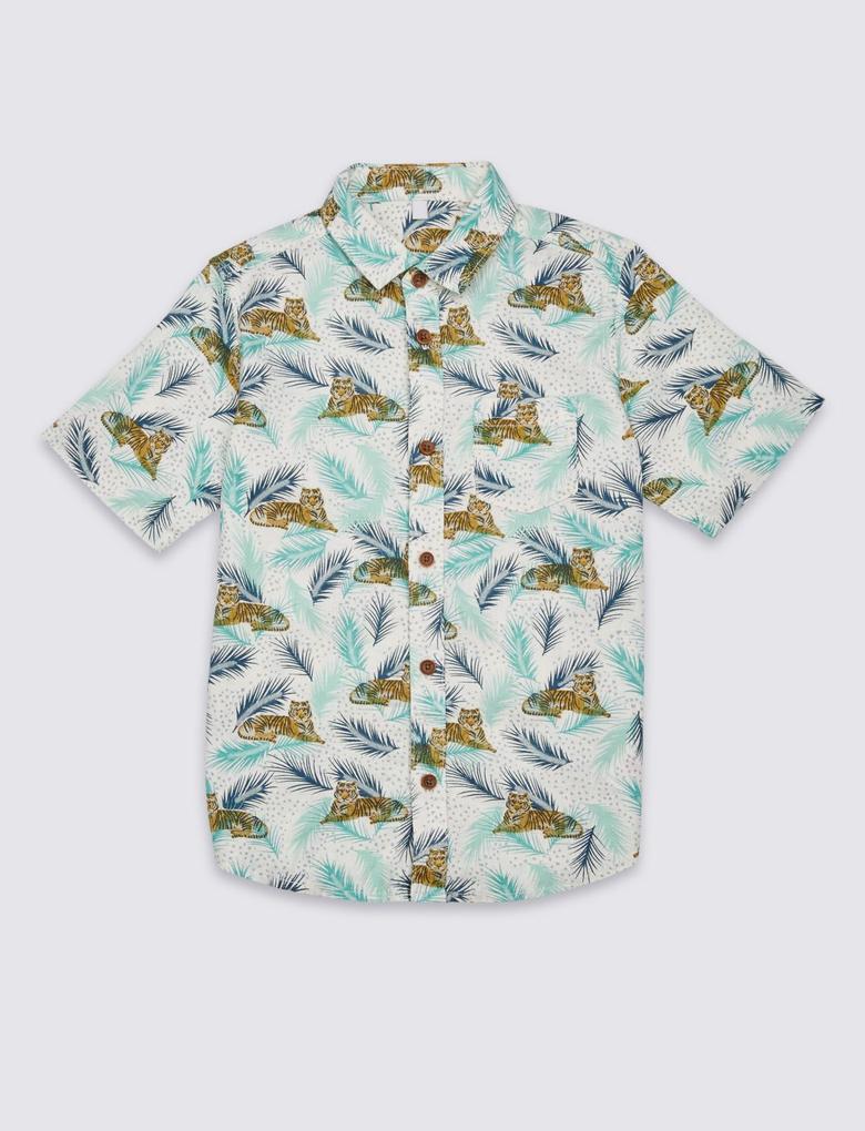 Multi Renk Keten Karışımlı Desenli Gömlek