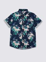 Keten Karışımlı Flamingo Desenli Gömlek