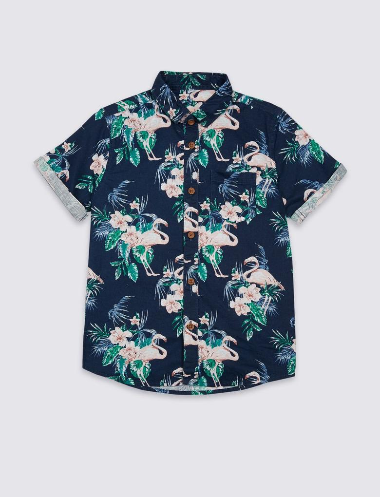 Multi Renk Keten Karışımlı Flamingo Desenli Gömlek