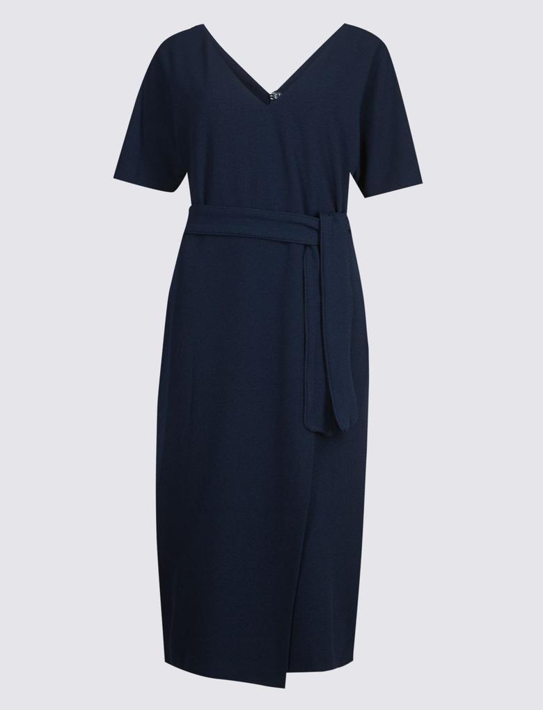 Lacivert Yarım Kollu Elbise