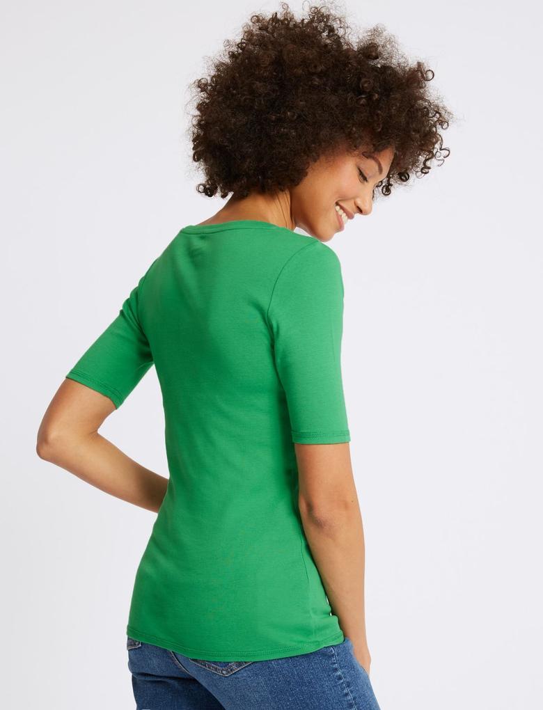 Yeşil Saf Pamuklu V Yaka Yarım Kollu T-Shirt