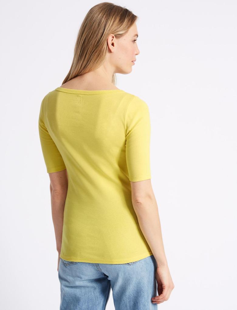 Saf Pamuklu Yuvarlak Yaka Yarım Kollu T-Shirt