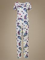 Lacivert Çiçek Desenli Pijama Takımı