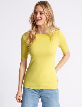 Sarı Saf Pamuklu Yuvarlak Yaka Yarım Kollu T-Shirt