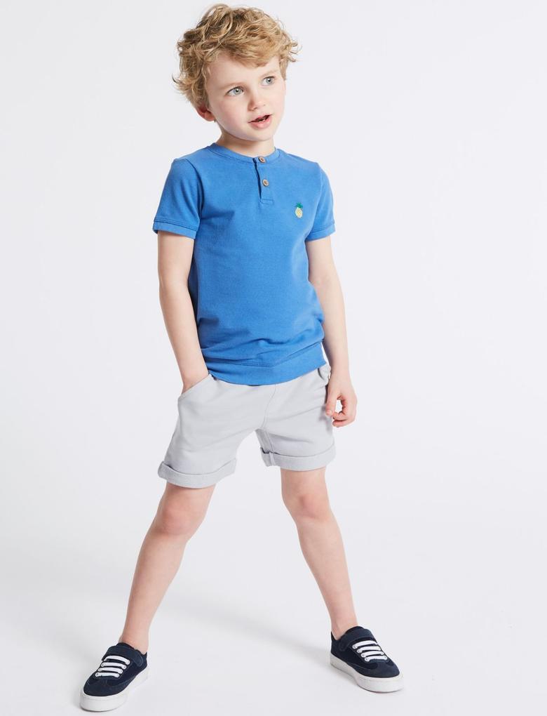 Erkek Çocuk Mavi 2'li Saf Pamuklu Şort