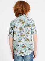 Keten Karışımlı Desenli Gömlek