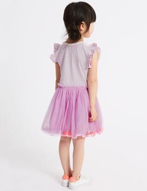 Ponponlu Fırfırlı Kısa Kollu Elbise