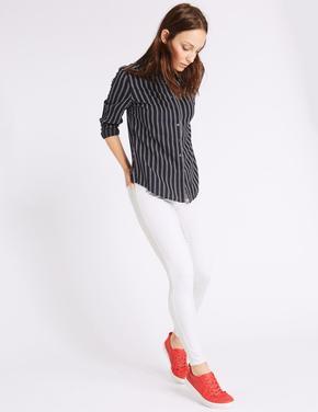 Kadın Beyaz Yüksek Belli Jegging Pantolon