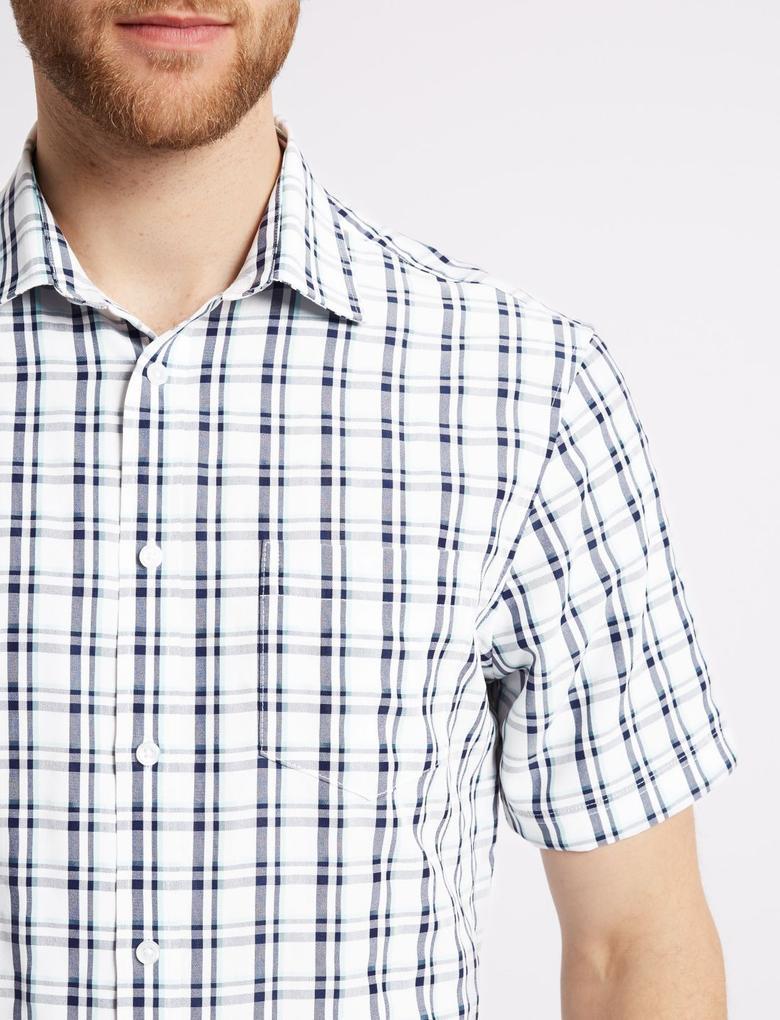 Mavi Easy Care Modal Karışımlı Ekose Gömlek