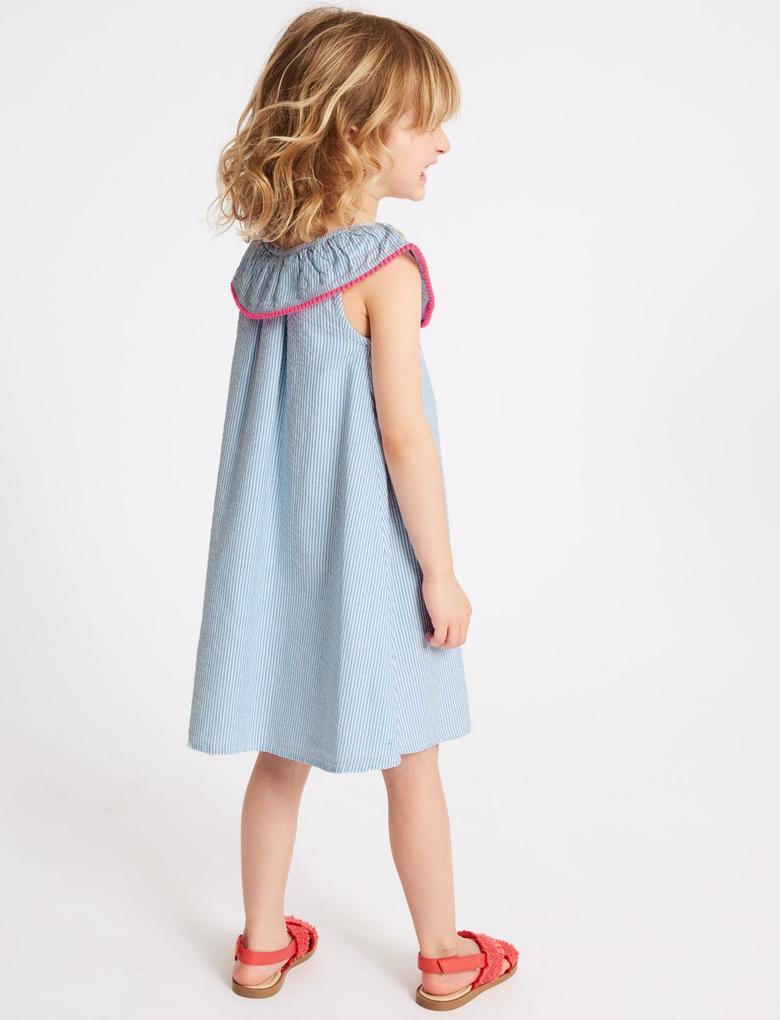 Mavi Saf Pamuklu Elbise