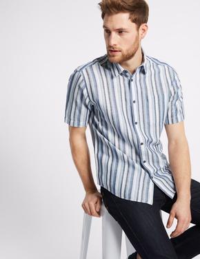 Kolay Ütülenebilir Keten Karışımlı Gömlek
