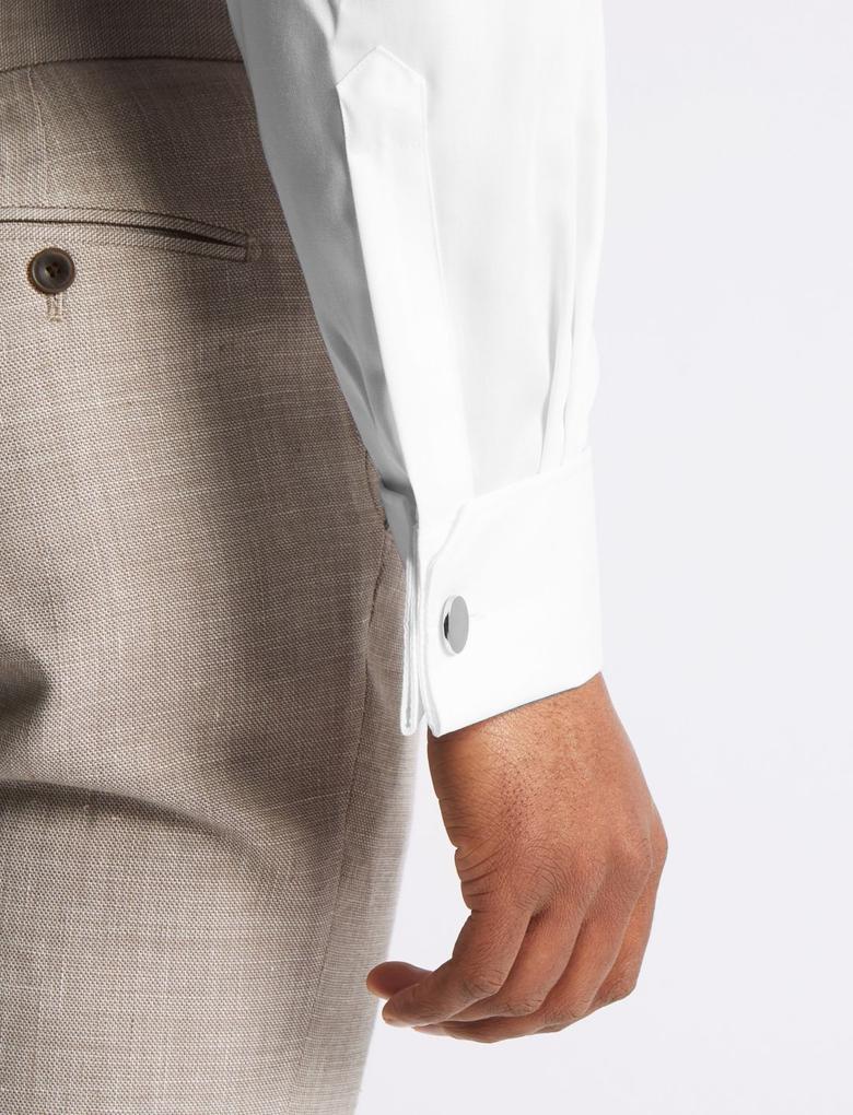 Saf Pamuklu Ütü Gerektirmeyen Tailored Fit Gömlek