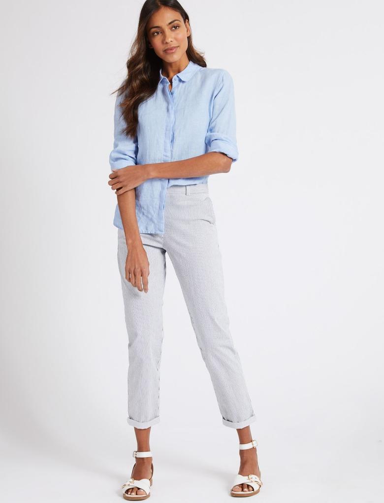 Mavi Pamuklu Slim Fit Çizgili Chino Pantolon