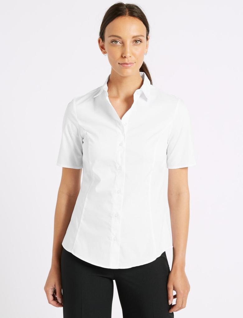 Beyaz Pamuklu Kısa Kollu Gömlek