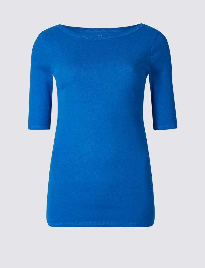 Mavi Saf Pamuklu Yarım Kollu T-Shirt