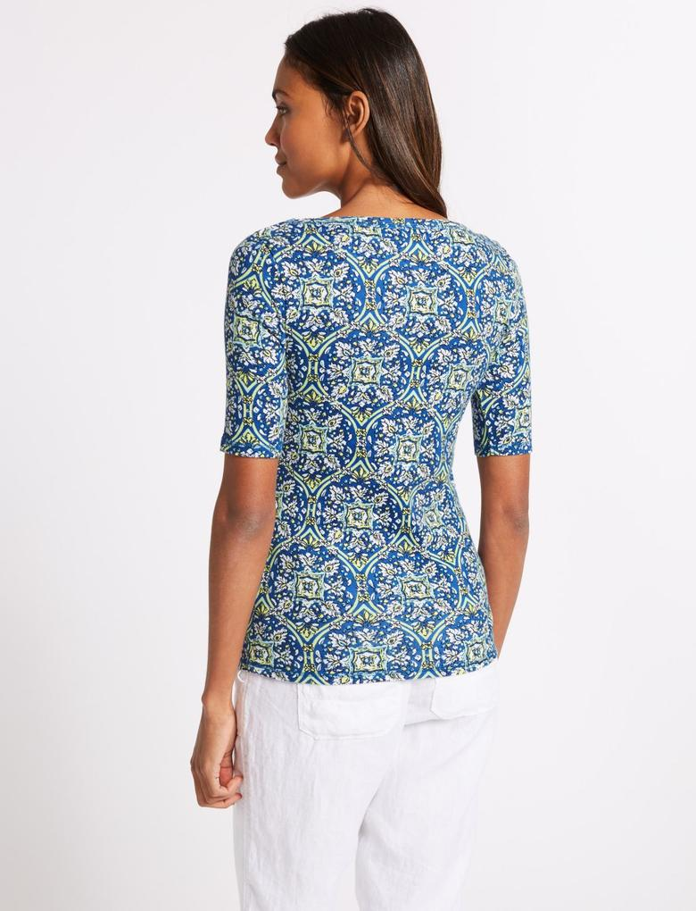 Mavi Saf Pamuklu Desenli Yarım Kollu T-Shirt