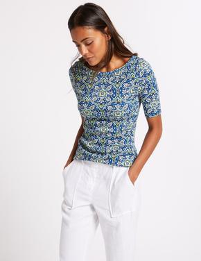 Saf Pamuklu Desenli Yarım Kollu T-Shirt