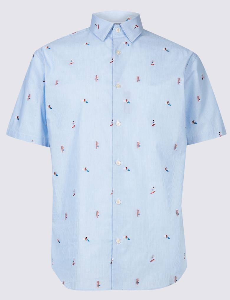 Mavi Desenli Kısa Kollu Gömlek