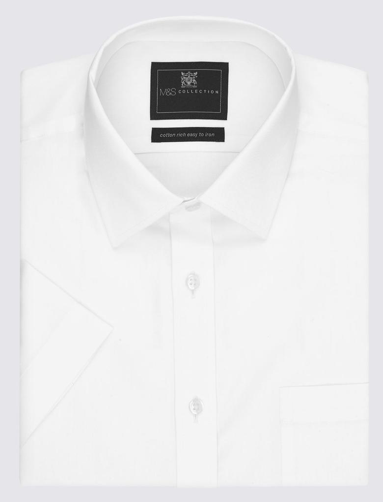 Beyaz Kısa Kollu Kolay Ütülenebilir Regular Fit Gömlek