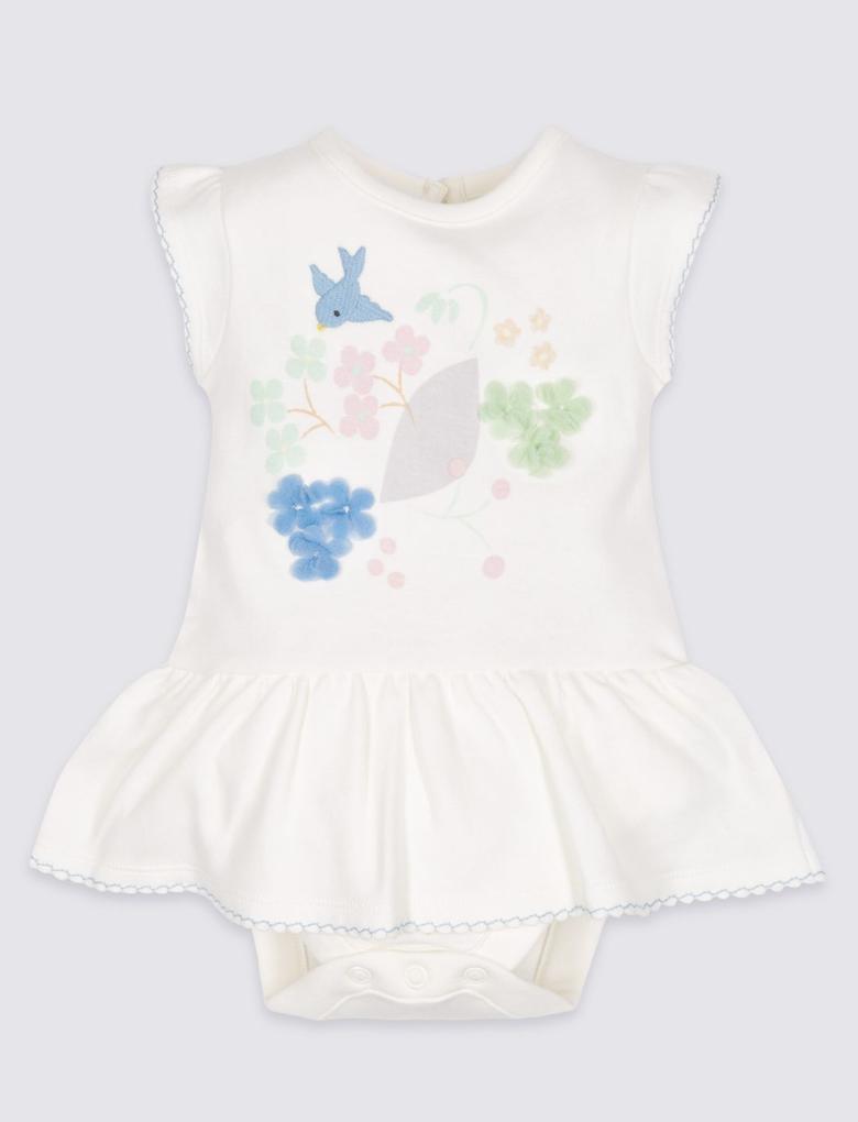 Beyaz Çiçek Desenli Jarse Elbise