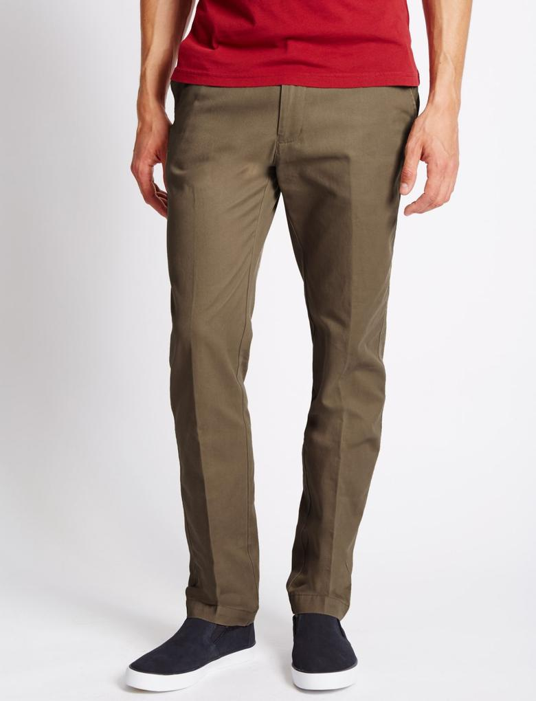Slim Fit Saf Pamuklu Chino Pantolon