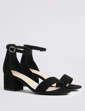 Siyah Geniş Kalıplı Kalın Topuklu Açık Ayakkabı